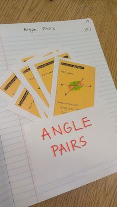 Everybody is a Genius: Angle Pairs... good idea to use index card in journal to create pocket