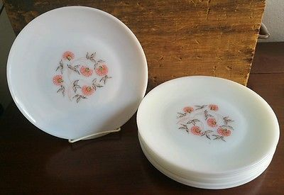 Anchor Hocking Fire King Fleurette 9 inch Dinner Plate Set of 8 Lot 23 : 9 inch dinner plate set - pezcame.com