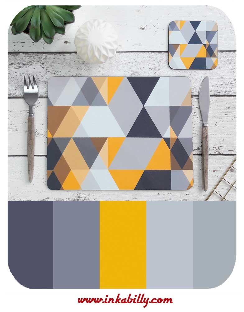 Yellow Grey Scandi Placemat Matching Coaster By Inkabilly Modern Placemats Placemats Modern Coasters