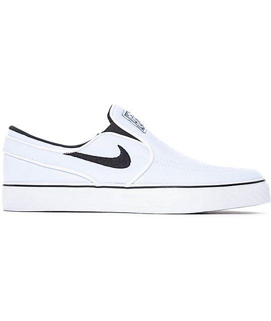 béisbol estudio este  Nike SB Janoski White & Black Canvas Slip On Women's Skate Shoes   Zumiez    Nike sb janoski white, Nike sb janoski, Skate shoes