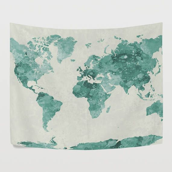 Green Watercolor World Map Tapestry Wall Hanging Vintage Global