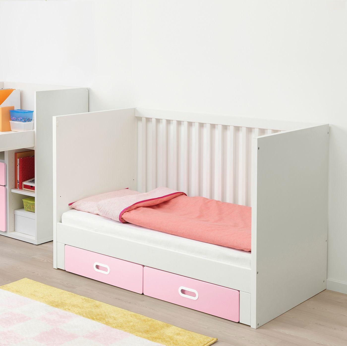 Ikea Stuva Fritids Crib With Drawers Light Pink In 2020 Ikea