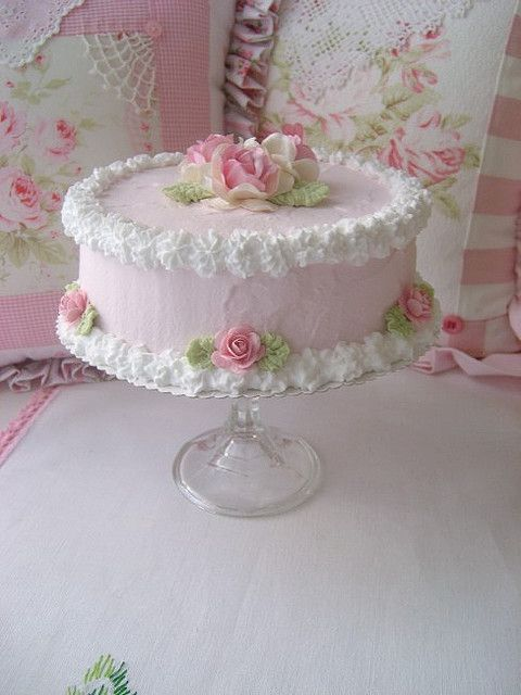 Pleasant Faux Shabby Pink Roses Cake With Stand Pink Rose Cake Shabby Personalised Birthday Cards Vishlily Jamesorg