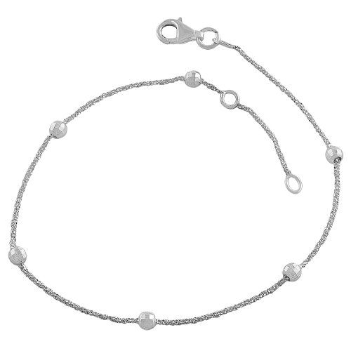 silver anklet bracelets with chain inch ankle sterling bracelet ball