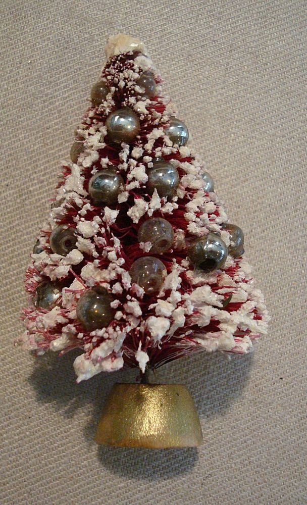 Vintage Flocked Bottle Brush Tree Christmas Lapel Pin PINK with ...