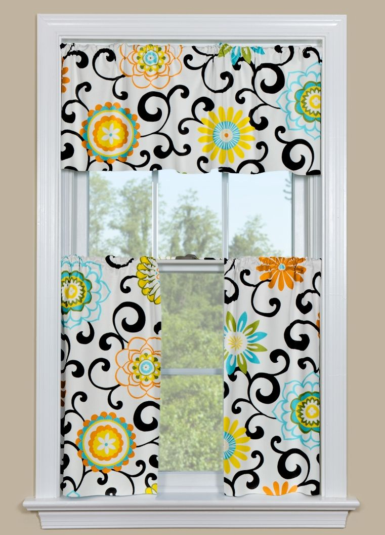 Modern Kitchen Curtain Panel With Brightly Colored Flowers In Our Pom Play Confetti Pattern