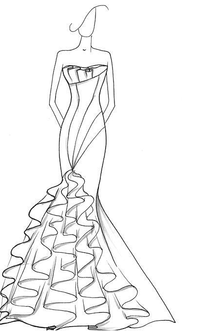 Drew Barrymore\'s Wedding Dress: Designer Sketches | Sketches and ...