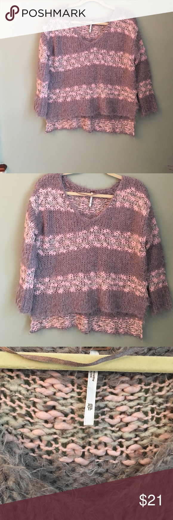 FREE PEOPLE CROPPED STRIPED SWEATER Free people pink and purple ...