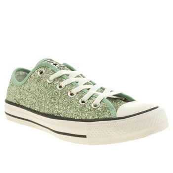 848d5031193b7f Womens Light Green Converse All Star Glitter Oxford Trainers