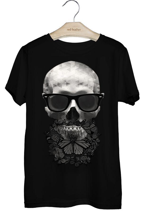 Camiseta Masculina Preta Caveira Borboletas  da5df4ca07bf6
