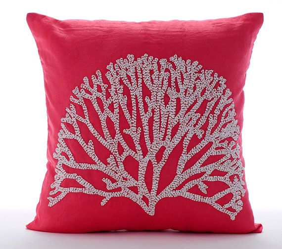 Art Silk Red Pillow Cover 16x16 Decorative Toss Pillow Cover Toss Cushion Solid Color Pattern Modern Style Red Hot Satin Ribbon