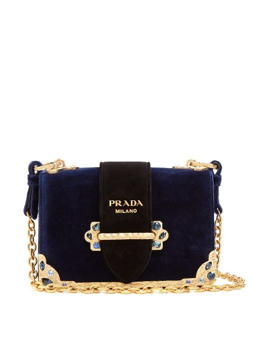 c7dc41f9ebf PRADA Caille Small Velvet Cross-Body Bag.  prada  bags  shoulder bags   crystal  velvet  suede  lining
