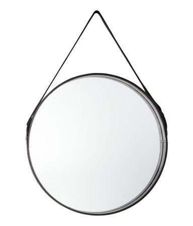 Black Large Round Mirror With A Leather Frame Loop At Back For Hanging Screws Not Included Diameter Of Mirror 15 1 4 In Diameter Of Black Round Mirror Round Mirrors H M Home