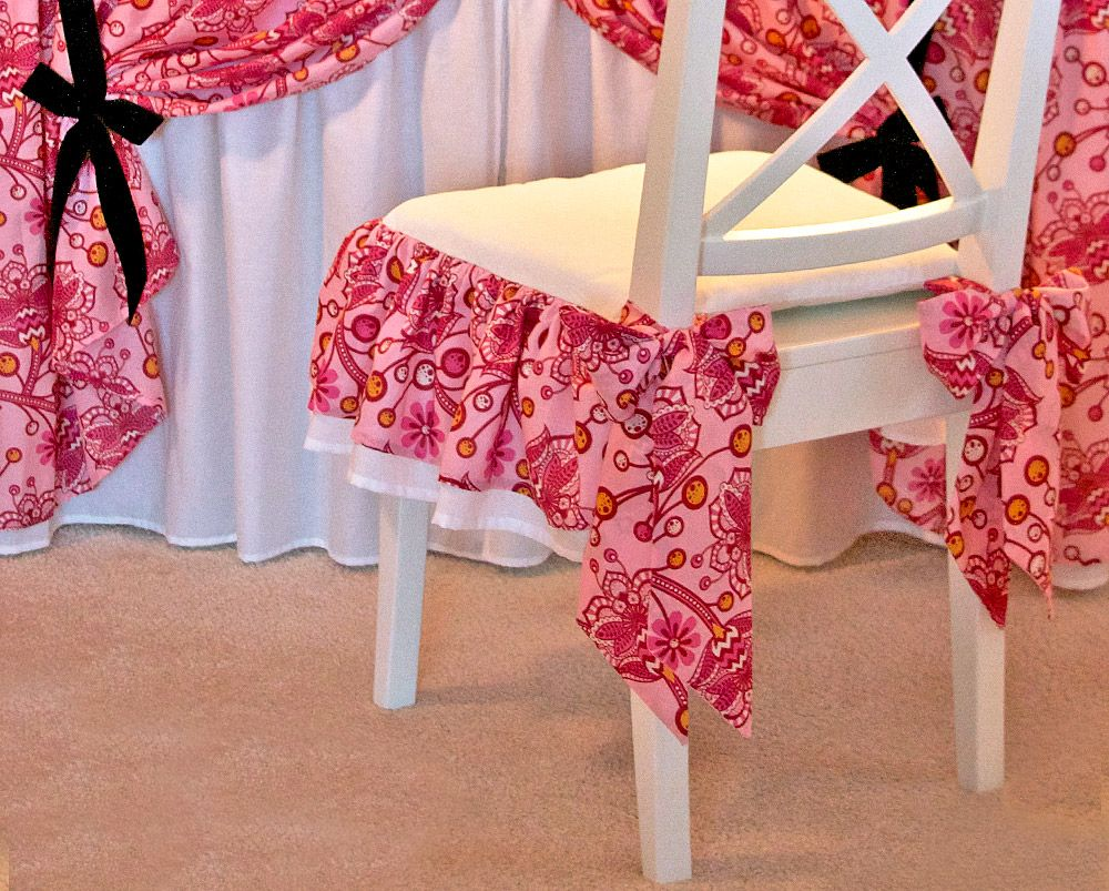 Bows U0026 Ruffles Vanity Chair Cushion. Note Plastic Table Top Cover Instead  Of Glass.