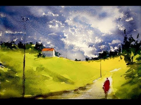 You Ll See A Simple Landscape Watercolor Technic For Beginners