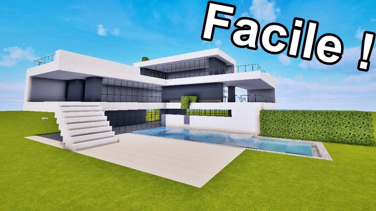 Maison Ultra Moderne Facile A Faire Sur Minecraft Tutoriel Youtube Maison Moderne Minecraft Plan Maison Minecraft Maison Minecraft