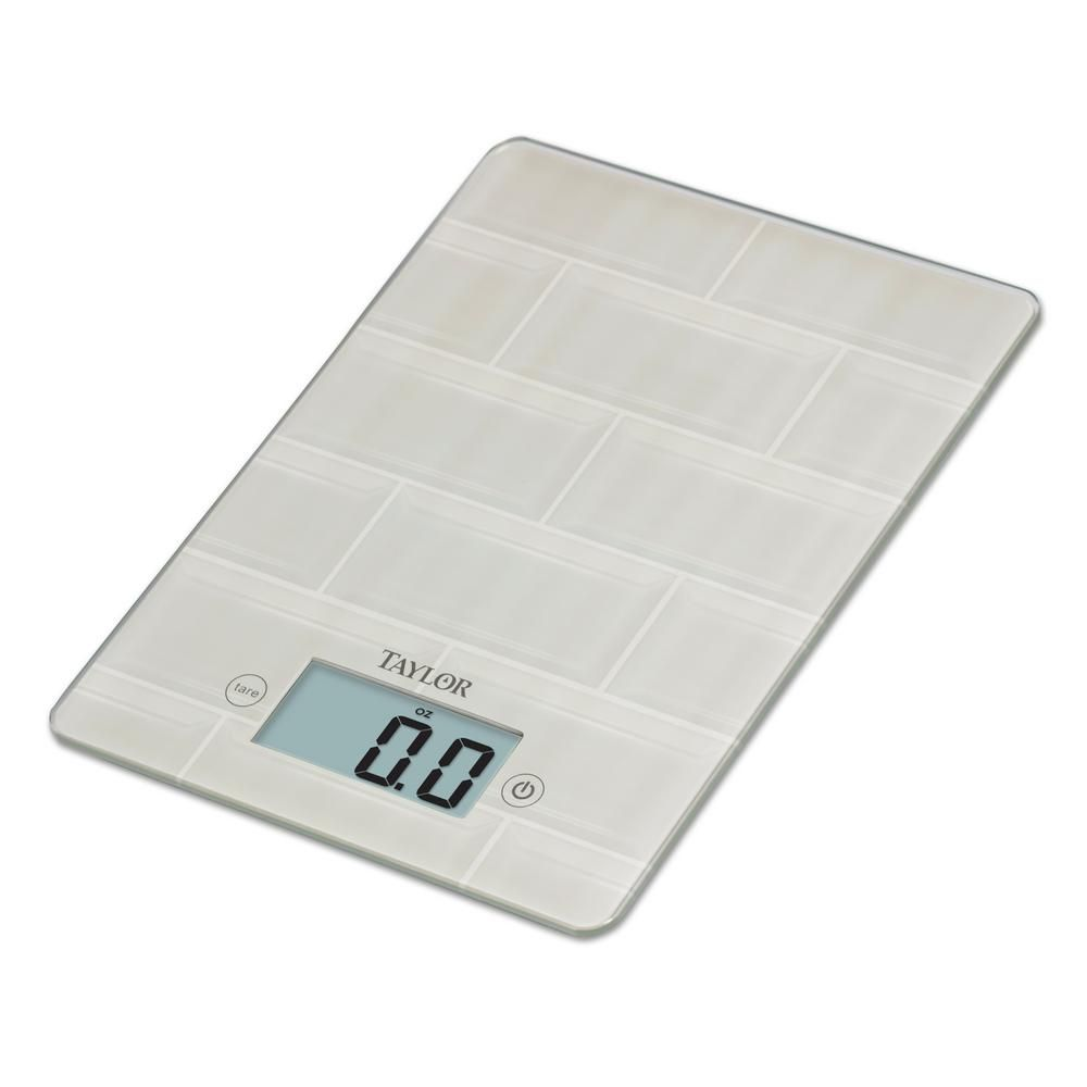 Taylor Digital Kitchen Scale With Glass In White Subway Tile Design