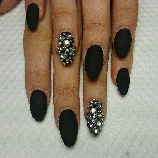 Matte Black And Pink Rhinestone Stiletto Gel Nail Art I Would Nails Design With Rhinestones Black Nails Rhinestone Nails