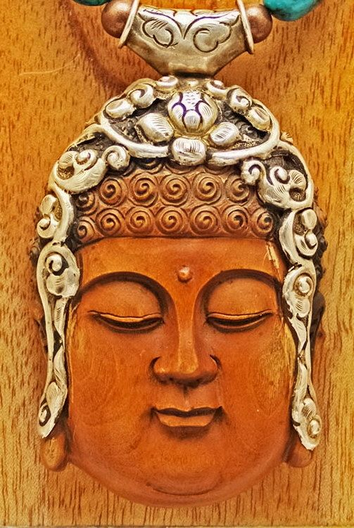 Handcarved Signed  Wood Buddha & Asian Beads by SilkRoadJewelry, $325.00