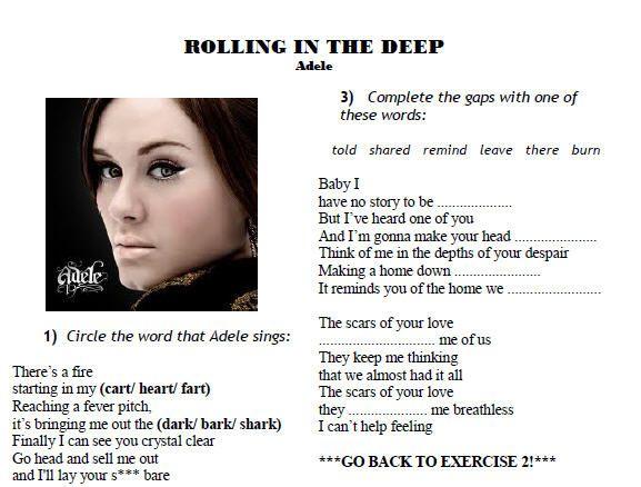 Song Worksheet Rolling In The Deep By Adele Ii Songs Words Think Of Me