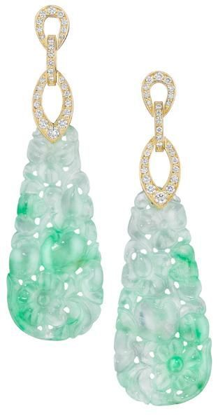 Mimi So Couture Jade and Diamond Earrings. Jade (45.83ct) and Diamond (0.65ct) Earrings in 18 Karat Yellow Gold.