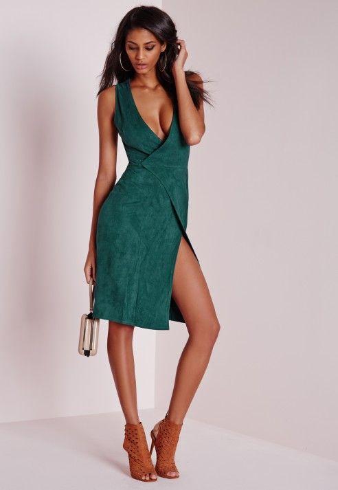 Faux Suede Sleeveless Wrap Midi Dress Teal - Dresses - Midi Dresses - Missguided