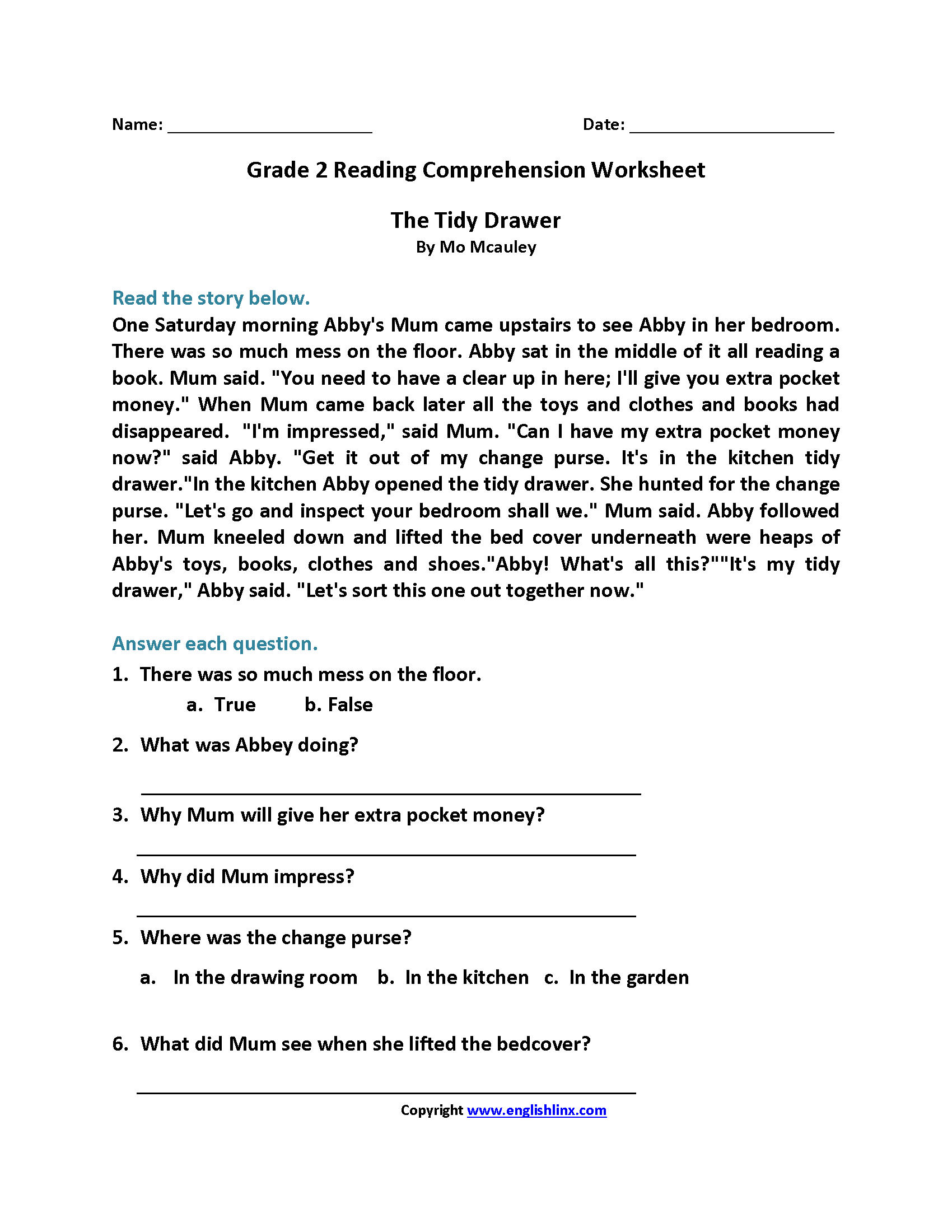 The Tidy Drawer Second Grade Reading Worksheets