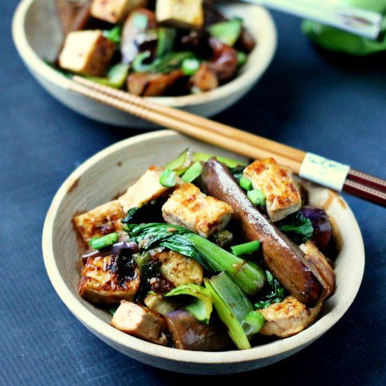 The perfect healthy dinner, Delicious Japanese Eggplant, Bok Choy, and tofu drenched in a spicy Asian sauce.