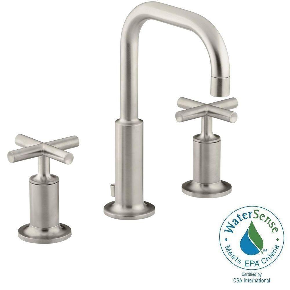 Kohler Purist 8 In Widespread 2 Handle Low Arc Bathroom Faucet In Vibrant Brushed Nickel Widespread Bathroom Faucet Sink Faucets Bathroom Faucets