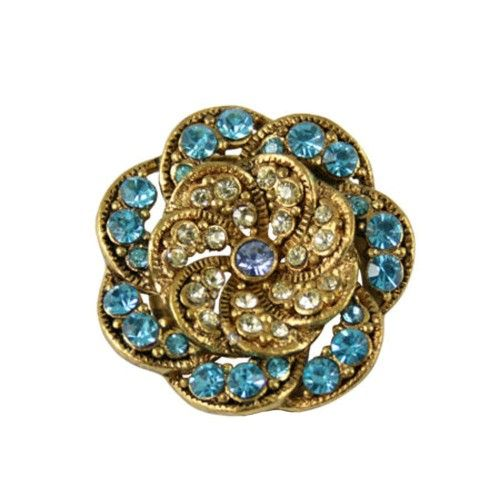 Vintage Style Turquoise and Jonquil Gold Scarf Clip, £12