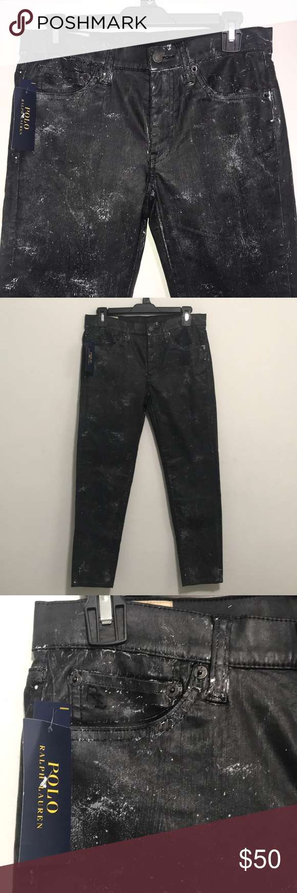 """Polo Ralph Lauren Tompkins Skinny Crop Jeans Hand Measure Stretch Waist. 31"""" Front Rise 9"""" Back Rise 13""""1/2…   Cropped skinny jeans ..."""