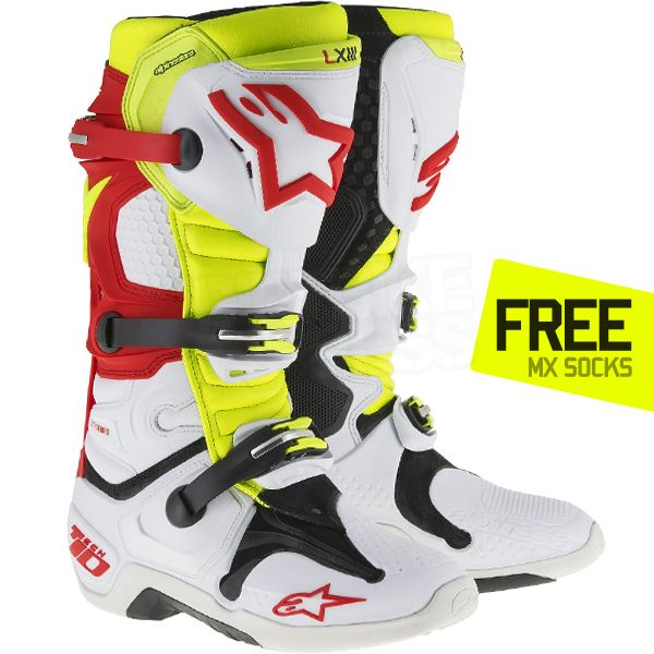 2016 Alpinestars Tech 10 Boots - White Red Neon Yellow