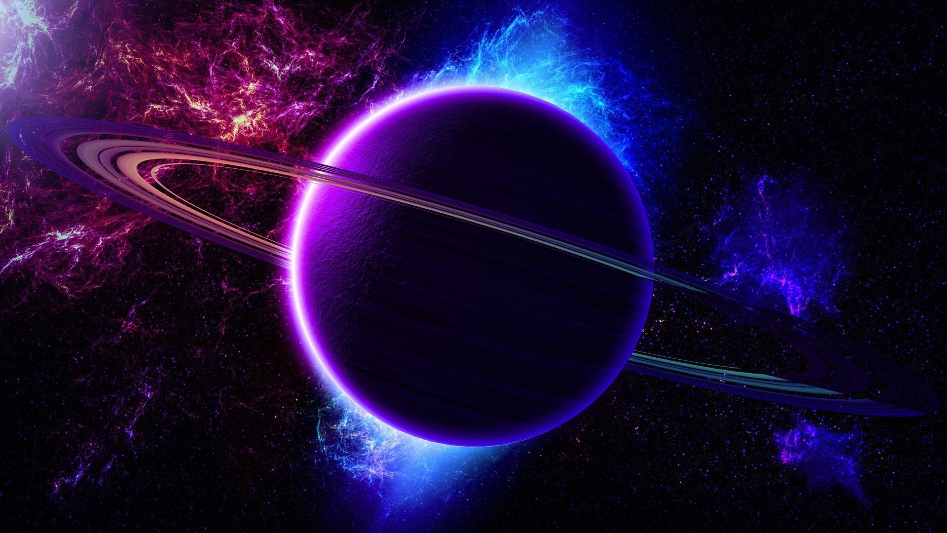 Colorful Galaxy View In 2020 Planets Blue Colour Wallpaper Saturn