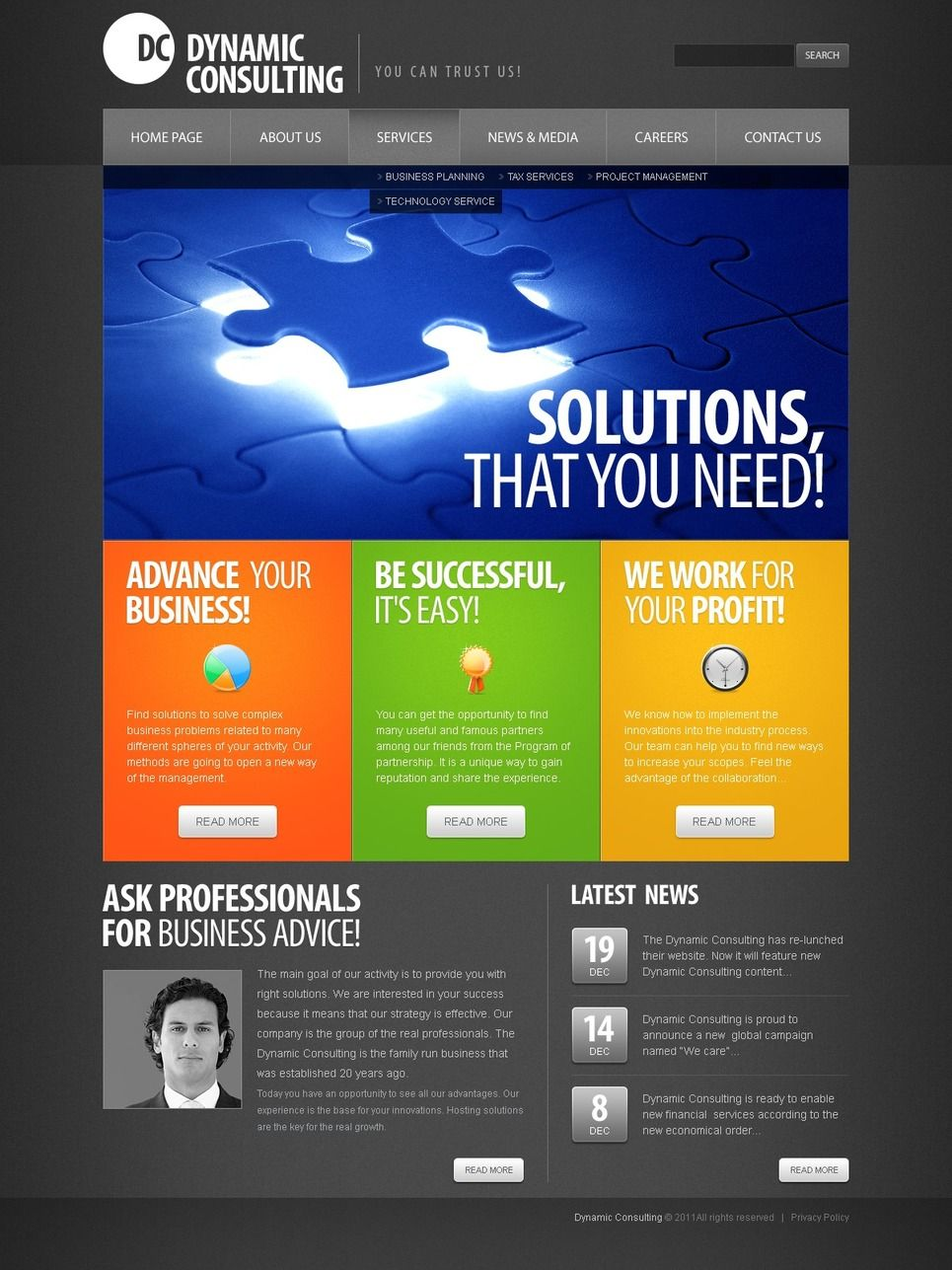 Consulting PSD Template 56360 Psd templates, Templates