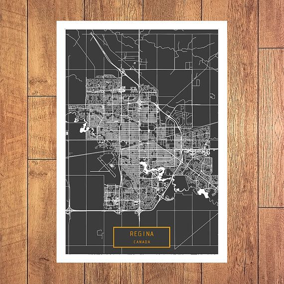 REGINA Canada CANVAS Large Art City Map Regina Canada Art Print