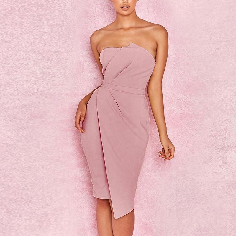1717fccd8151 Strapless Fashion Asymmetrical Plain Bodycon Dress Enjoy bikinis swimsuits  Free Shipping $59+ & Easy