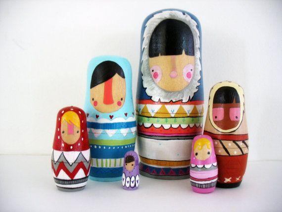 handmade wood folk art nesting dolls... wool by mooshoopork