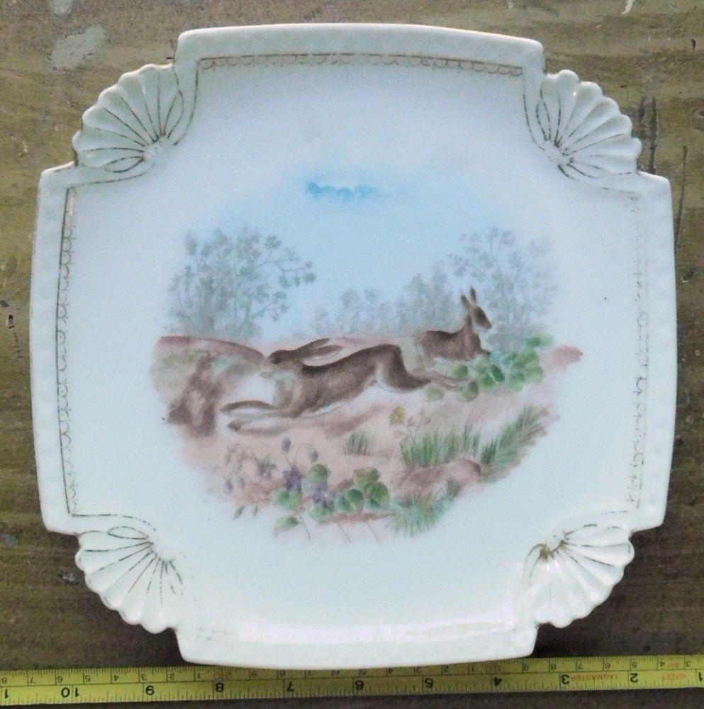 Antique Porcelain Bawo Dotter Elite Porcelain dessert plate rabbits Limoges  SM