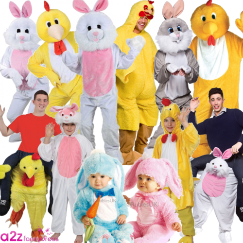 Unisex /& Kids Easter Bunny Costume Party Fancy Dress Retro Hen Stag Accessories