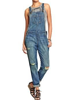 Womens Distressed Denim Overalls