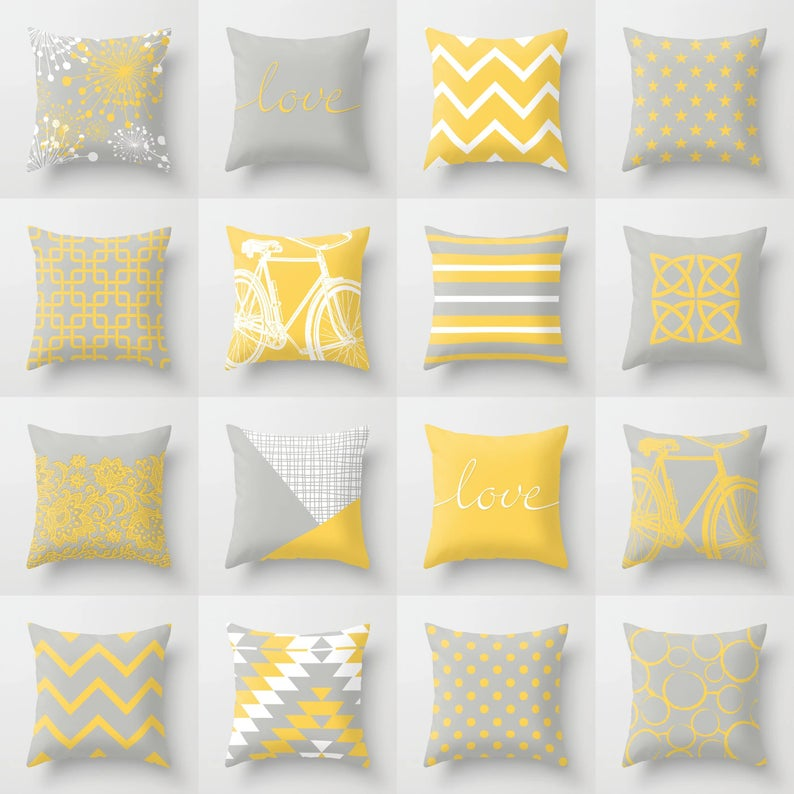 Yellow Grey White Throw Pillow Mix And Match Indoor Outdoor Etsy White Throw Pillows Throw Pillows Pillow Mixing