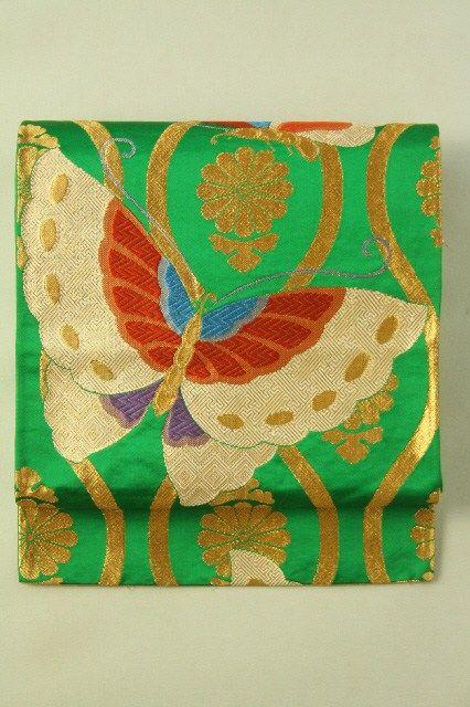 green fukuro obi rokutsu gold and big batterfly pattern 緑地