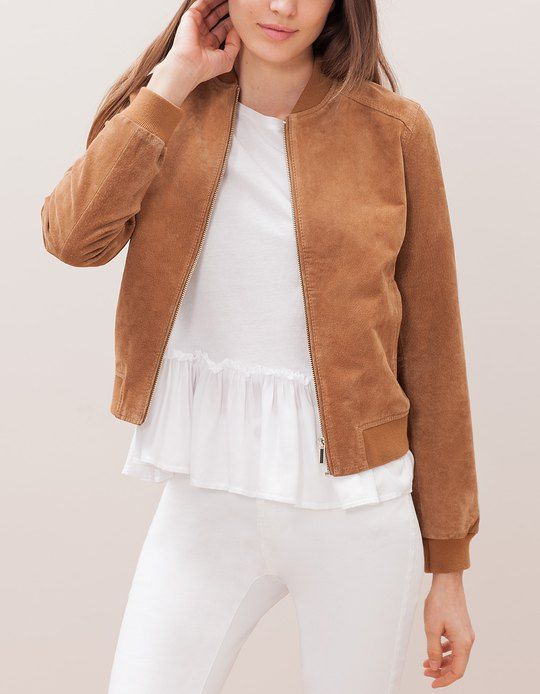 At Stradivarius you'll find 1 Suede baseball jacket for woman for ...