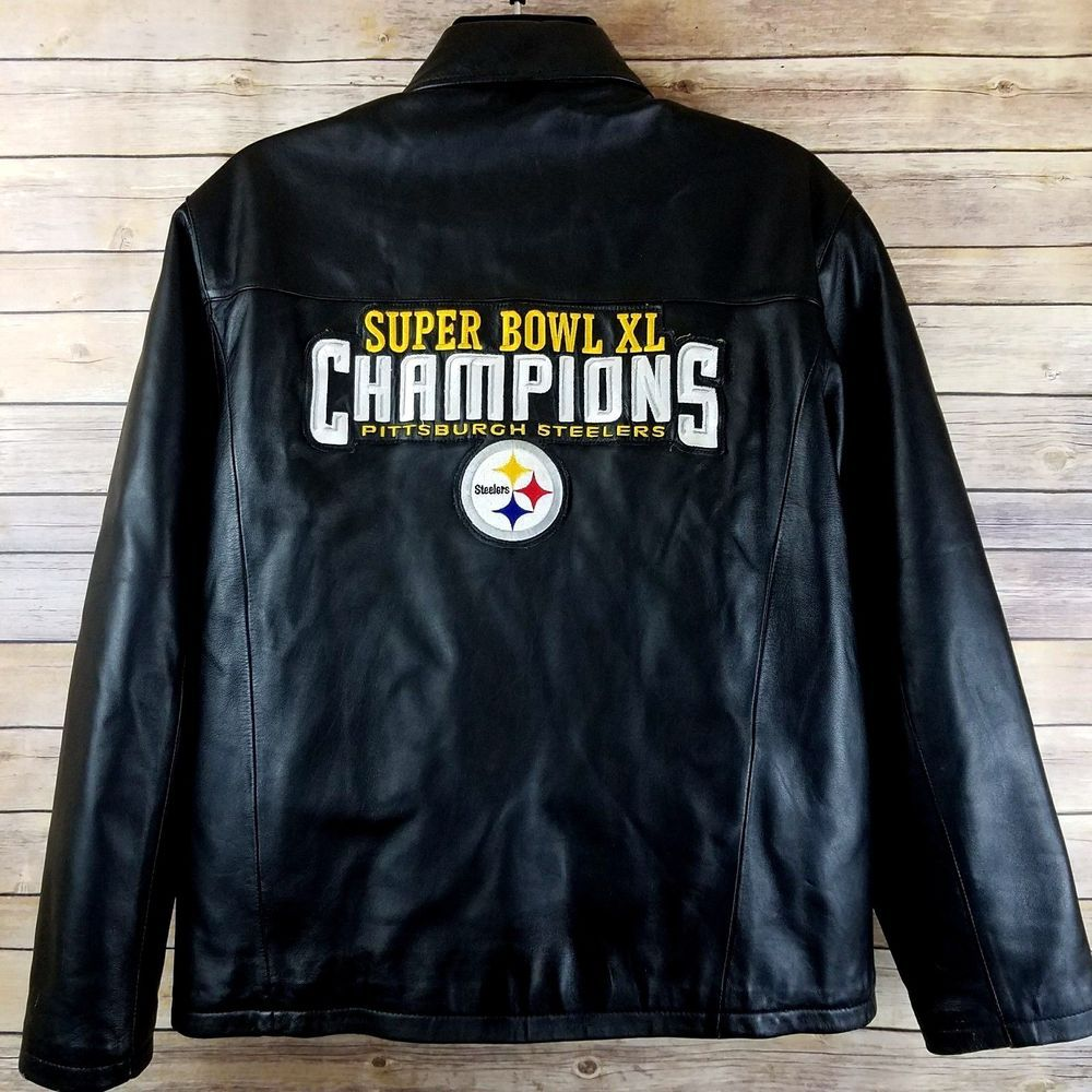 new styles 5f1cb b6a56 Pittsburgh Steelers Champions Leather Jacket Zip Front Mens ...