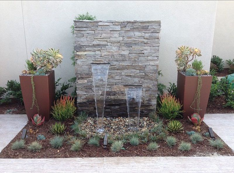 Outdoor Water Feature Landscaping With Brown Pots Also Stone Fountain Concrete Pathway And Patio Fountainfountain Designfountain
