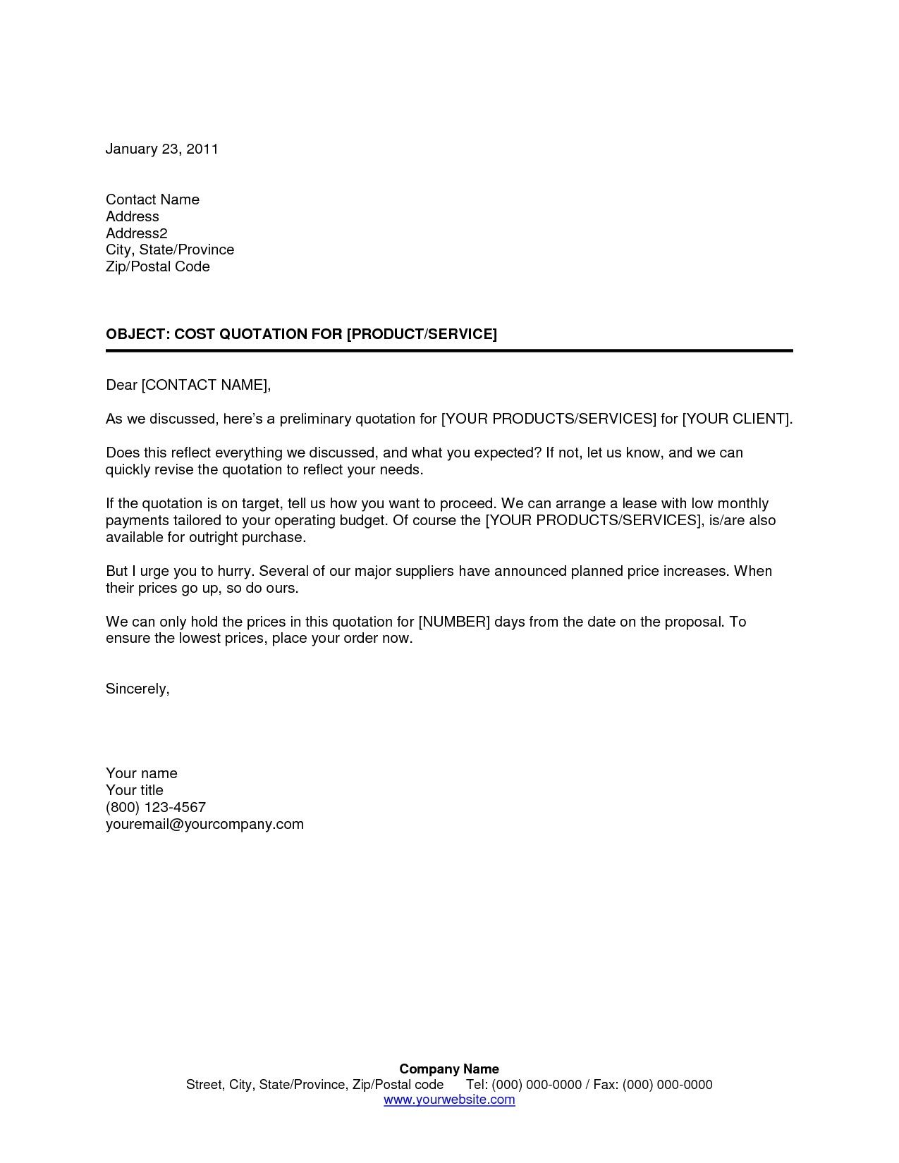 Cover Letter Quotation Template