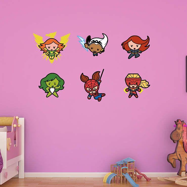 Kawaii Marvel Girl Superheroes Collection Fathead Wall Decal For - Girl superhero wall decals