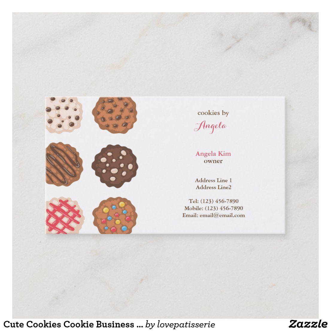 Cute Cookies Cookie Business Bakery Business Card Zazzle Com In 2021 Bakery Business Cards Cookie Business Cute Cookies