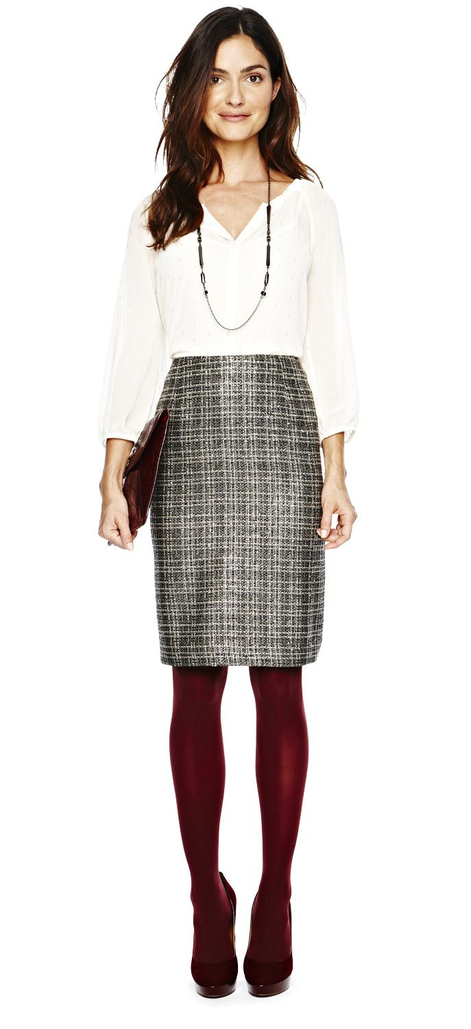 b709ee2dfe2 office ready and salary friendly — liz claiborne woven shirt and boucle  skirt