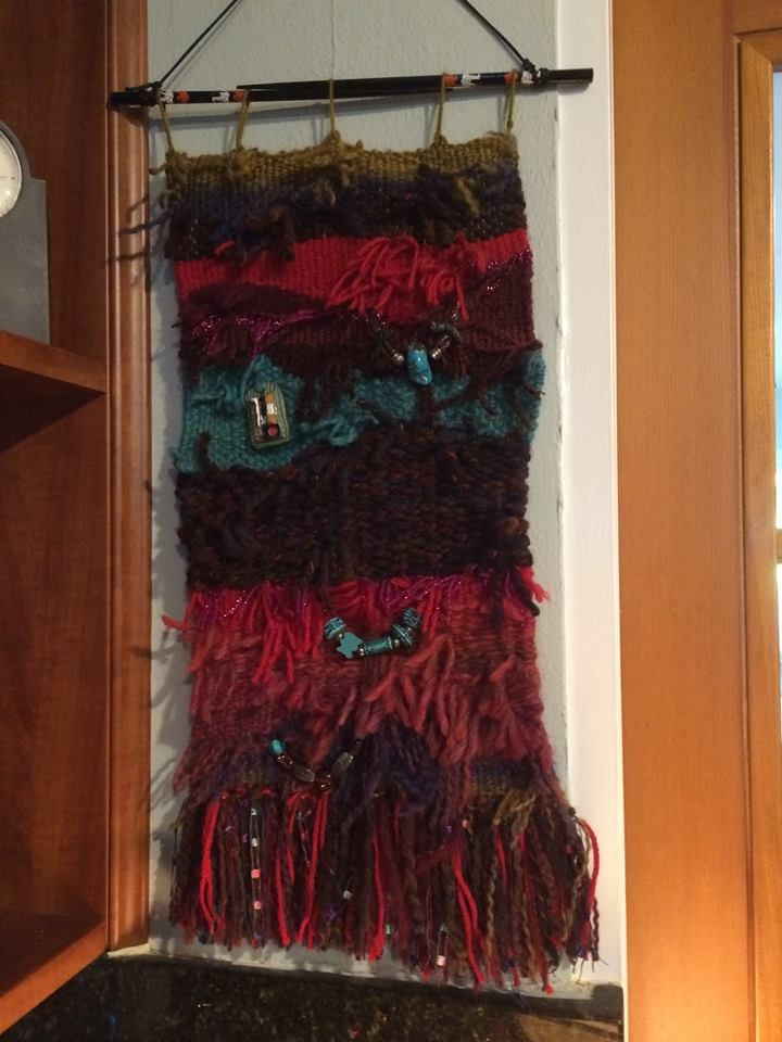 "'One of a kind"" lap loom wall hanging is created by Peggie Williamson. ....a unique conversation piece!!"